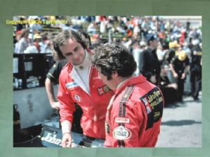 "GUNNAR NILSSON & MARIO ANDRETTI Long Beach Lotus pit 10x7"" photo 1977"